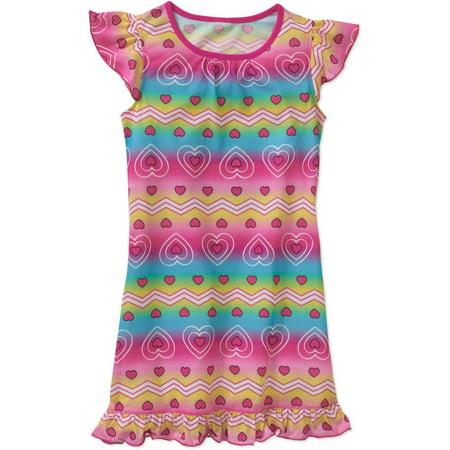 Girls' Flutter Sleeve Graphic Heart Chevron Pajama Sleep Gown