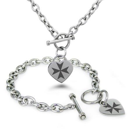 Stainless Steel Maltese Cross Symbols Heart Charm Toggle Bracelet