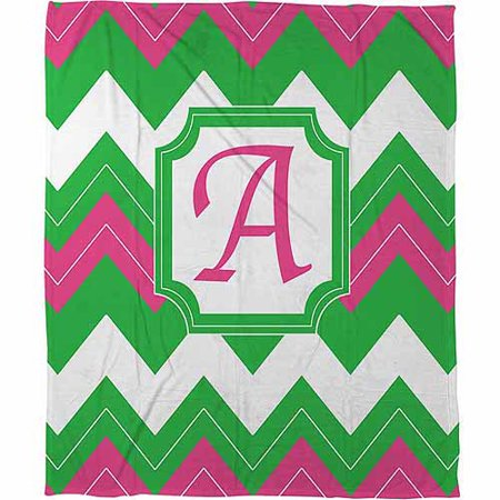 Thumbprintz Chevron Monogram Fleece Throw, Fuchsia - Personalized Fleece