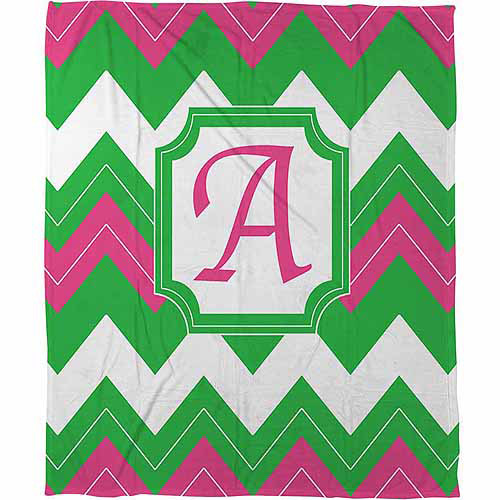 Thumbprintz Chevron Monogram Fleece Throw, Fuchsia