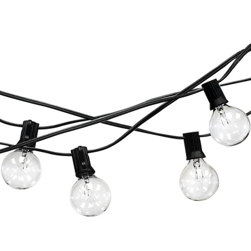 LED Concepts Outdoor String Lights, 25 Clear Globe Bulbs   G40, UL Listed  Power