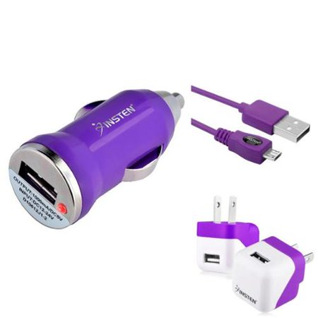 Insten Purple Travel AC Home Wall + Car USB Charger Adapter + 10FT 10' Long Cable For Android Smartphone LG Aristo K7 K8 G Stylo 3 2 Stylus Plus Samsung Galaxy J7 J5 J3 J1 S7 S6 S5 (3-in-1 Accessory) ()