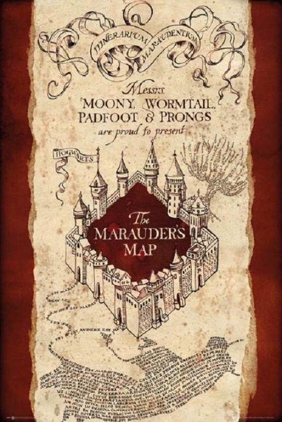 graphic relating to Marauders Map Printable referred to as Harry Potter Marauders Map Poster Poster Print