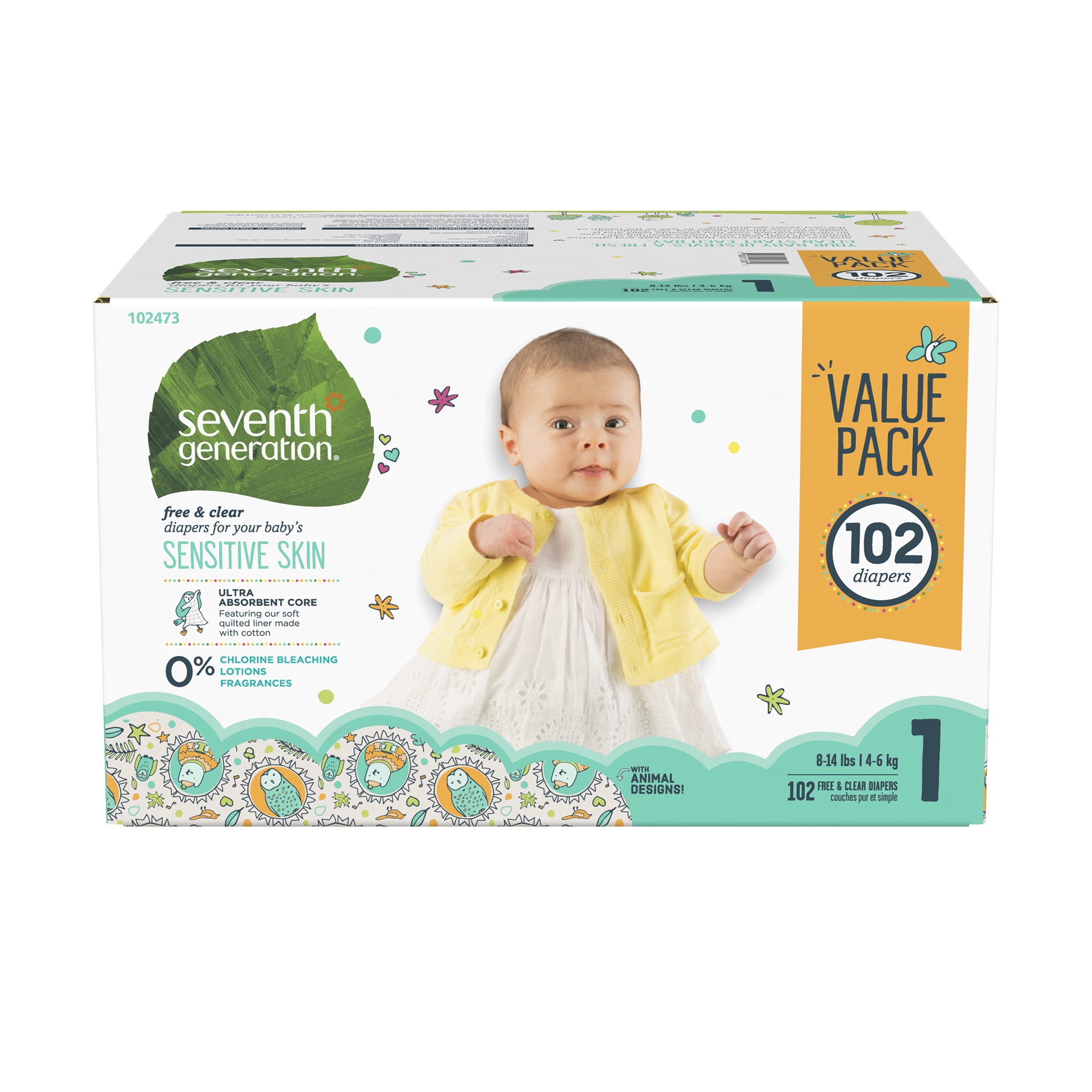 Seventh Generation Free & Clear Baby Diapers with Animal Prints Size 1, 8-14lbs 102 count