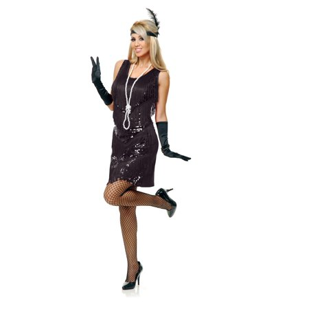 Flapper Dress Black 4 Tier Costume Womens Large - Costumes Black Dress