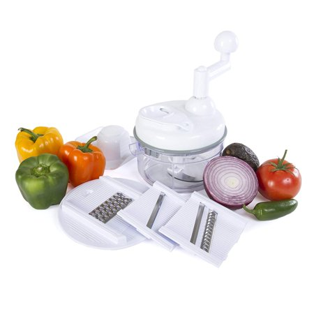 Miracle Chopper Manual Food Processor - Salsa Maker, Food Chopper, Mixer, Blender and Salad Spinner (KH-106W) ()