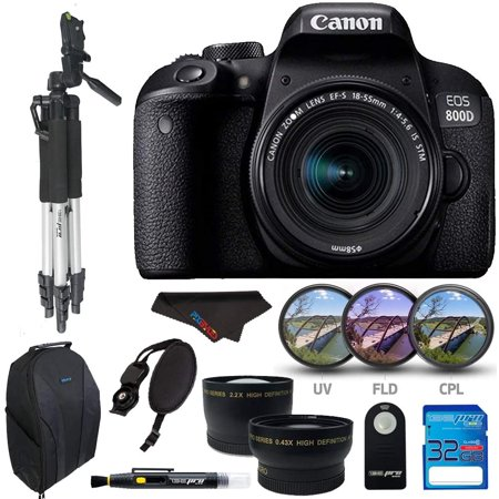 Canon EOS 800D / T7i with EF-S 18-55 is STM, 32GB Memory Card, Tripod, SLR Backpack and Pixi-Accessory Bundle