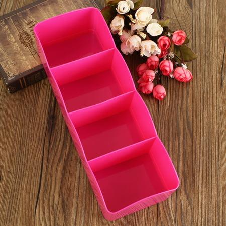 Buddy Products Single Drawer (4 Cell Plastic Storage Box Tie Bra Socks Underwear Drawer Cosmetic Stationery Divider Tidy Organizer Single Row)
