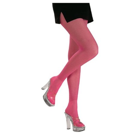 Womens  Pink Princess or 80s Costume Glitter Tights - Glitter Pantyhose