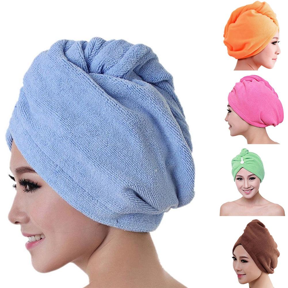 Girl12Queen Women's Microfiber Bath Towel Hair Dry Hat Absorbent Quick Drying Shower Cap