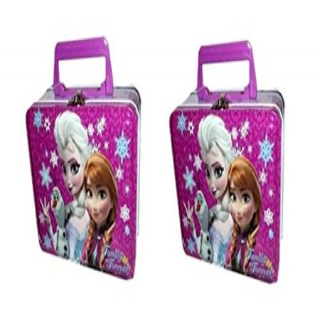 Disney Frozen Lage Rectangle Tin Box with Plastic Handle & Clasp x 2
