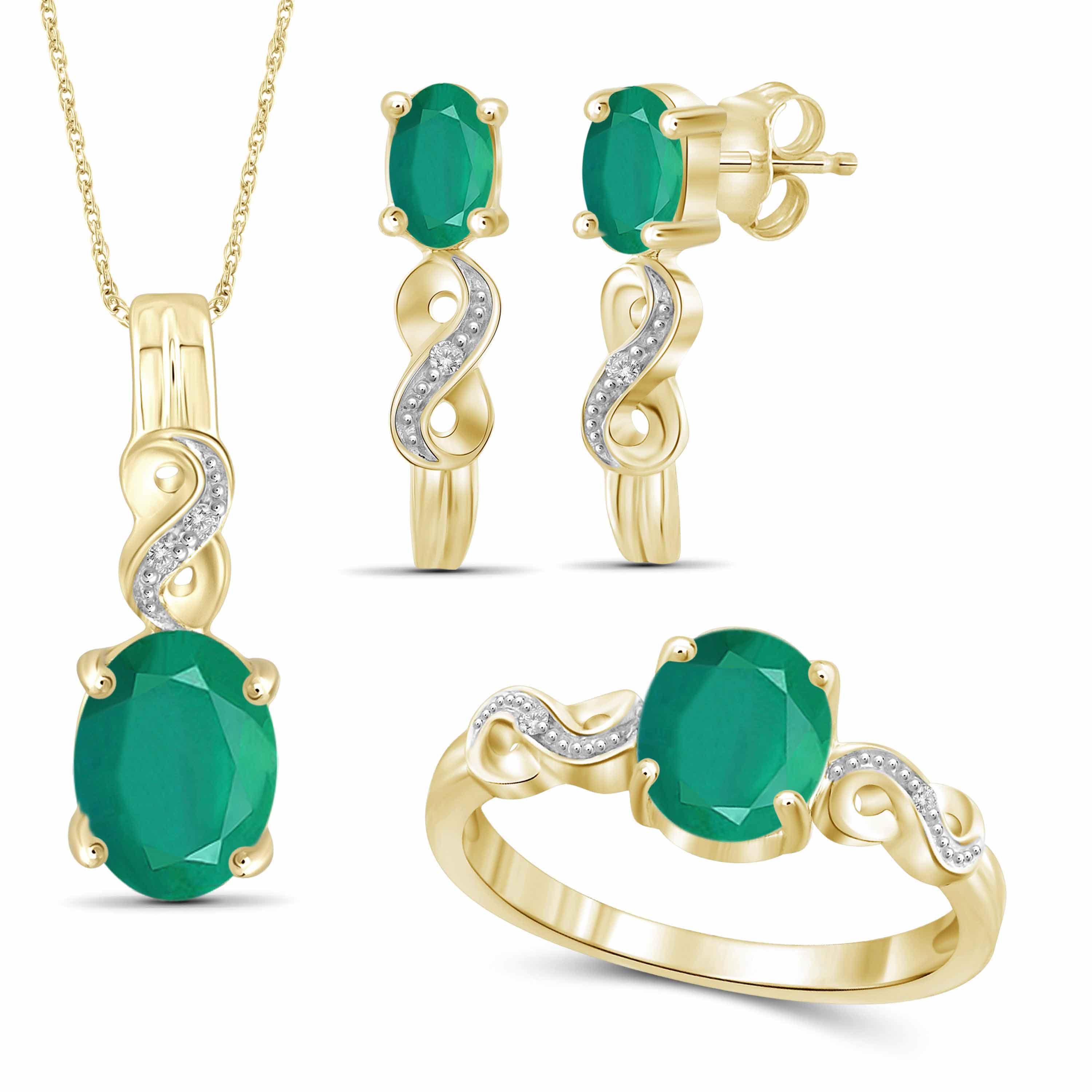 JewelersClub 3 1/3 Carat T.G.W. Emerald And White Diamond Accent 14K Gold over Silver 3-Piece Jewelry set