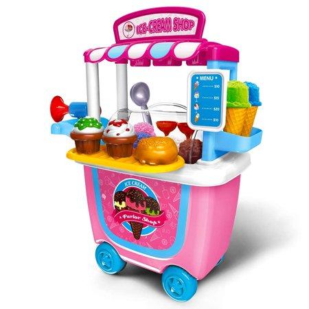 Ice Cream Cart Play Set Kids Activity & Early Development Education 31 pcs Pretend Food Play Set - Kids Ice Cream Cart