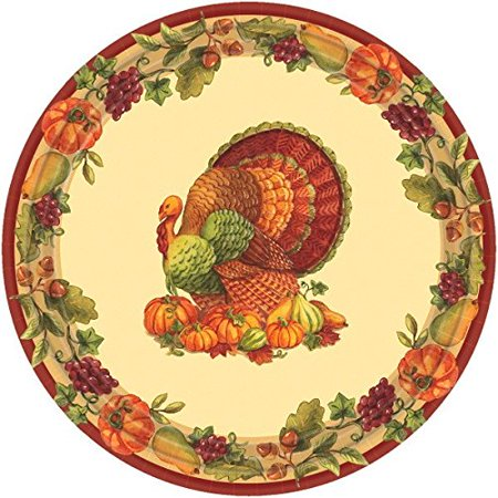 Amscan Joyful Harvest Thanksgiving Party Round Luncheon Paper Plates Pack of 60, Multicolor, 2.25