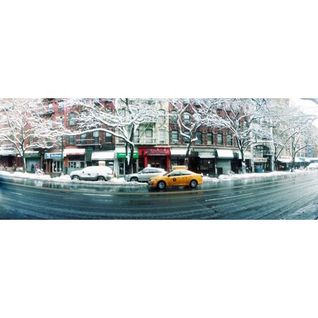 Snow covered cars parked on the street in a city Union Square Manhattan New York City New York State USA Poster Print