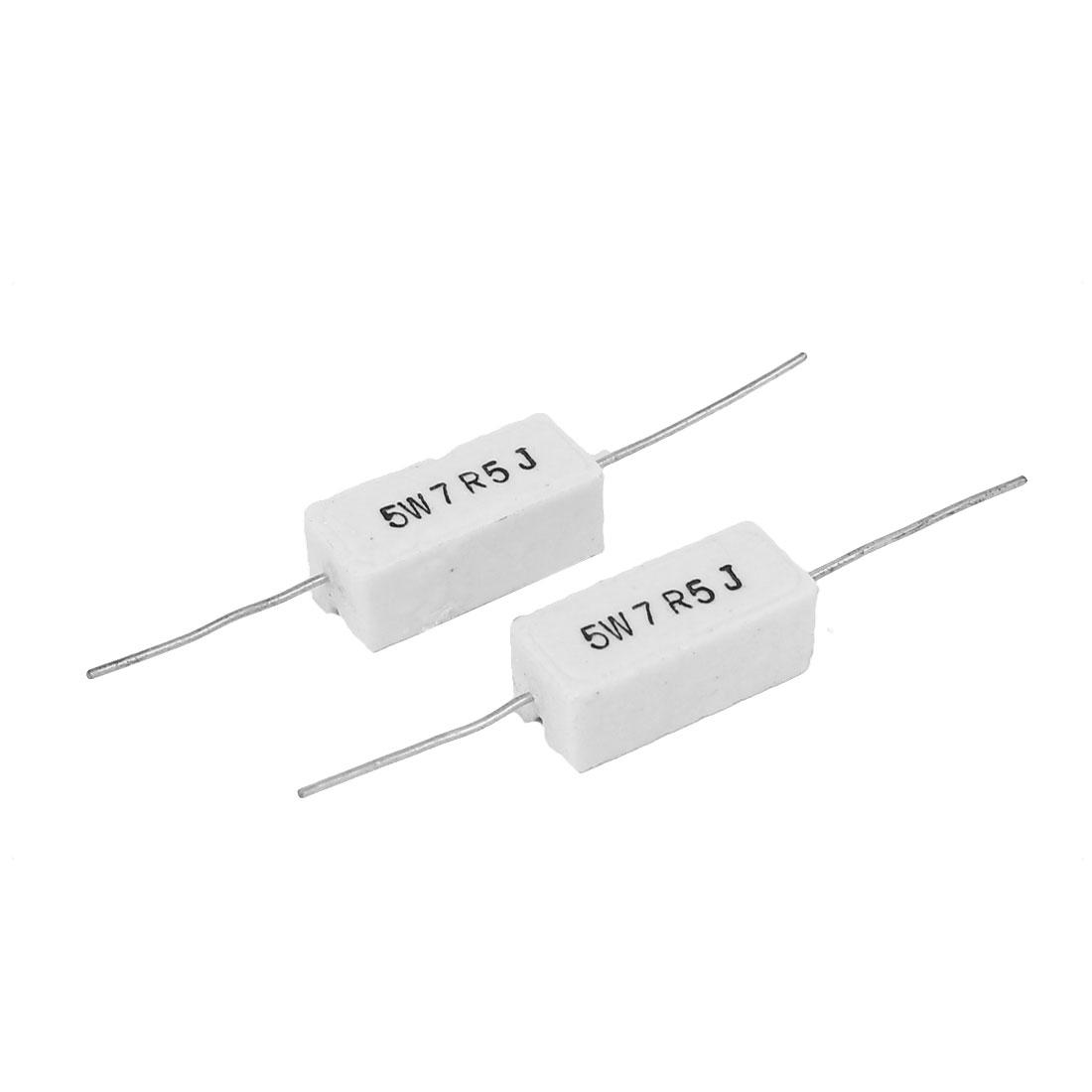 10 Pcs 5W Watt 7.5 Ohm J(+/-5%) Ceramic Cement Electric Power Resistor White - image 1 of 2