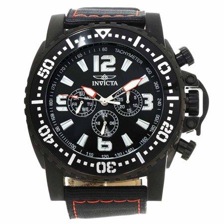 Invicta 20064 Mens Pro Diver Black Dial Black Ip Steel Black Nylon Strap Watch
