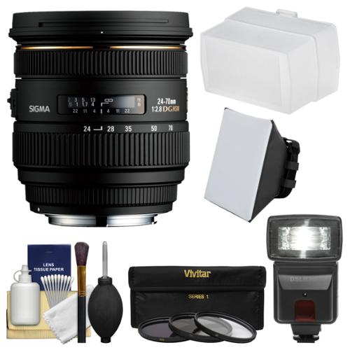 Sigma 24-70mm f/2.8 IF EX DG HSM Zoom Lens for Nikon DSLR Cameras with Flash + Soft Box + Bounce Diffuser + 3 UV/CPL/ND8 Filters + Kit