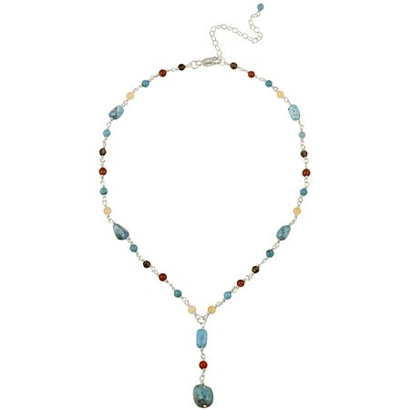 Aragonite, Carnelian, Smoky Quartz and Created Turquoise Chips and Nuggets Sterling Silver Drop Lariat Necklace, 16