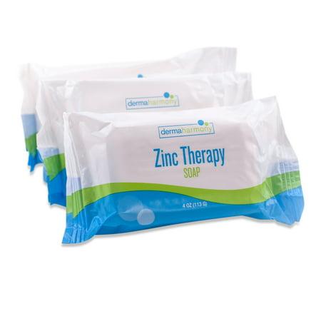 DermaHarmony 2% Pyrithione Zinc (ZnP) Bar Soap 4 oz - for Seborrheic Dermatitis and Dandruff - Three