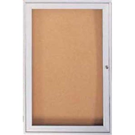 1 Door Enclosed Natural - 36 in. x 24 in. 1-Door Satin Aluminum Frame Enclosed Bulletin Board - Natural Cork