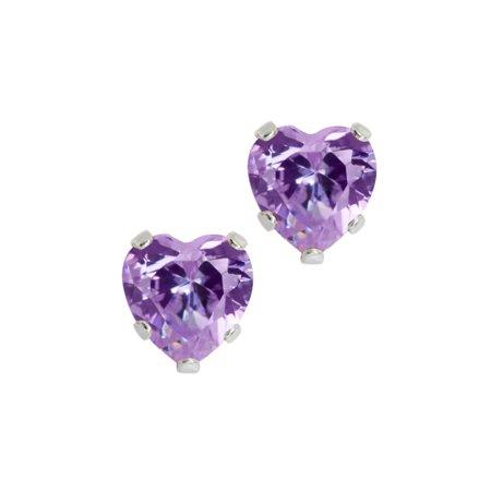 925 Sterling Silver Light Purple CZ Stud Earrings (3.00 cttw, 6MM Heart Shape)