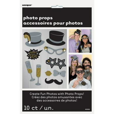 New Years Eve Photo Booth Props, 10-Count - Party City New Years Decorations