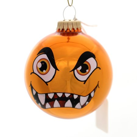Holiday Ornaments MONSTER FACES BALL ORNAMENT Glass Halloween 710002A Orange