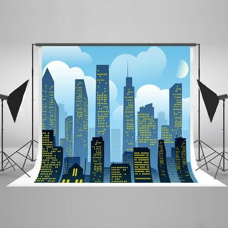 GreenDecor Polyster 7x5ft Super Hero City Newborn Night City Photography Backdrop Birthday Party Background for Photo Studio - Superhero Photo Effects