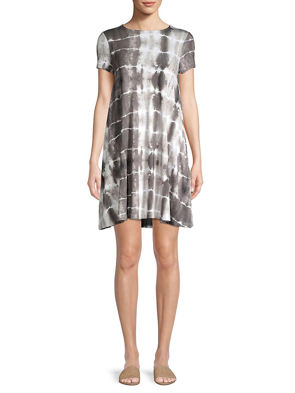 Petite Short Sleeve Tie-Dye Dress