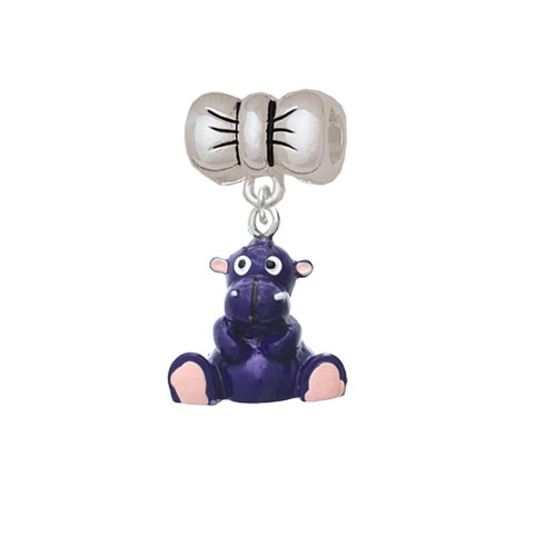 Resin Purple Hippopotamus Honey - Bow Charm Bead