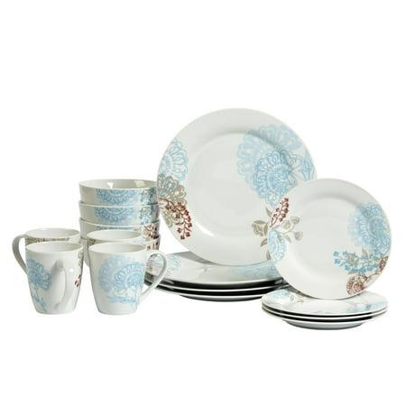 Tabletops Gallery Emma Round 16pc Dinnerware Set, Floral Pattern ()