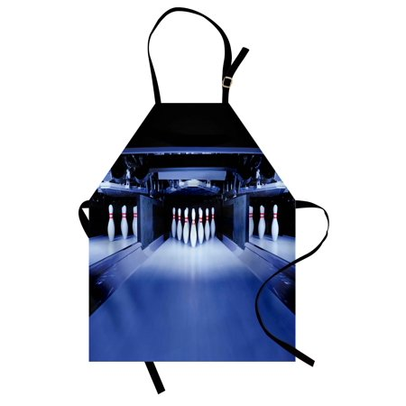 Bowling Party Apron Symmetrical Bowling Pins on an Empty Alley Hobby Fun Challenge Theme, Unisex Kitchen Bib Apron with Adjustable Neck for Cooking Baking Gardening, Blue White Red, by Ambesonne](Bowling Themed Party)
