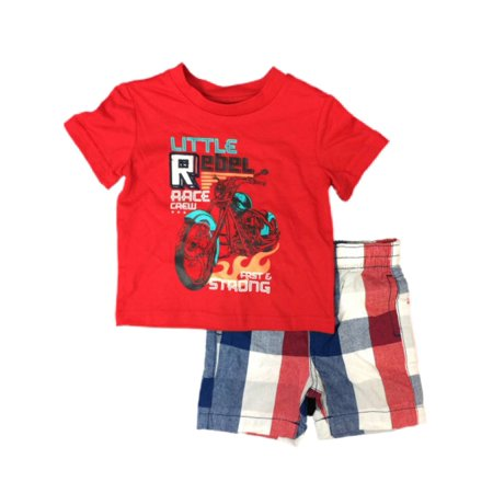 Infant & Toddler Boys Little Rebel Outfit Motorcycle Shirt & Plaid Shorts Set