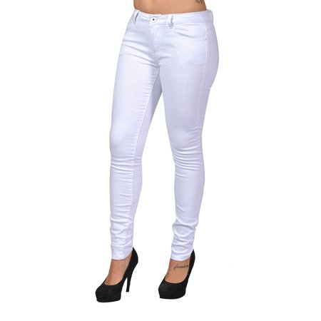 C'est Toi 4 Pocket Braided Belted Plus Size Skinny High Fashion Jeans (White)