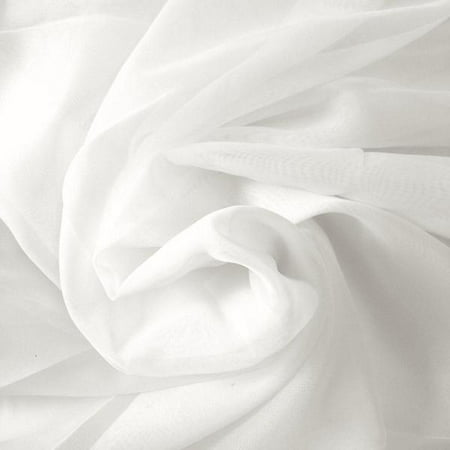 "Sheer Voile Fabric 118"" Wide Window Curtain Drapery and Apparel per yard 100% Polyester (White)"