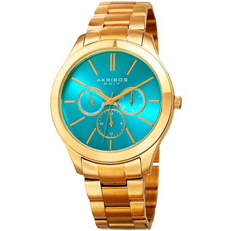 Women's Quartz Multifunction Gold-Tone Stainless Steel Bracelet Watch with FREE