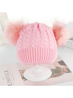 Multitrust Newborn Kids Baby Boys Girls Fur Pom Hat Winter Warm Knit Beanie Cap