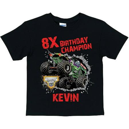 Personalized Monster Jam Birthday Champion Boys' Black T-Shirt