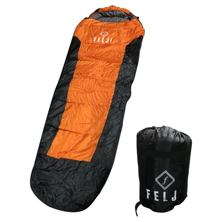 Felji Mummy Sleeping Bag With Carrying Case 5f 15c Orange Grey Black