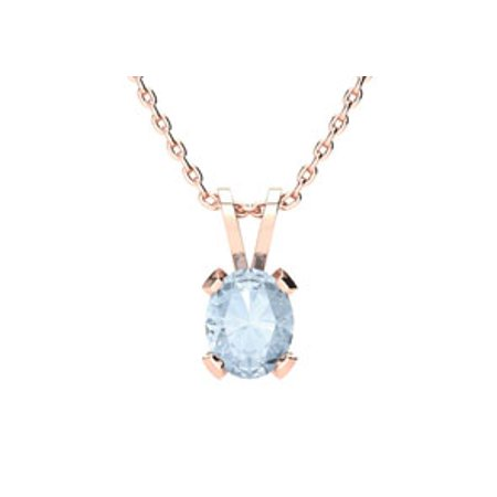 3/4 Carat Oval Shape Aquamarine Necklace In 14K Rose Gold Over Sterling Silver 18 Inches