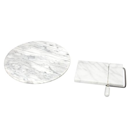 Creative Home 2-Piece White Marble Table Top Serving Set