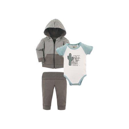 Comfy Hoodie Set - Baby Boy Hoodie, Bodysuit & Pants, 3pc Outfit Set