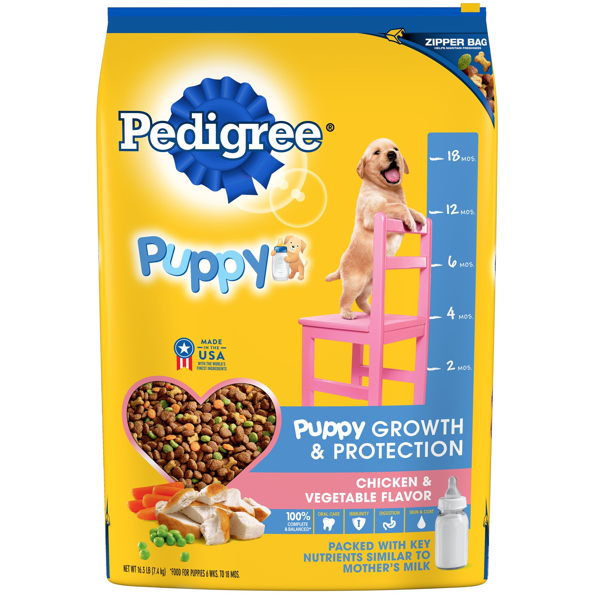PEDIGREE Puppy Growth & Protection Chicken & Vegetable Flavor Dry Dog Food 16.3 Pounds