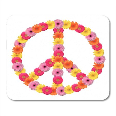 LADDKE Sign Peace Flower Symbol Power Circle Floral Love Mousepad Mouse Pad Mouse Mat 9x10 inch