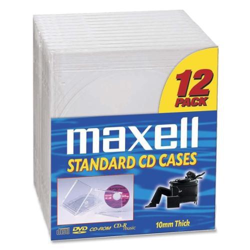Maxell CD/DVD Clear Plastic Jewel Cases CD-360 - 12 CD/DVD