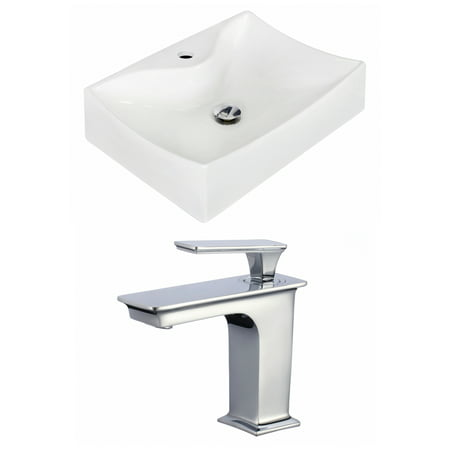 Rectangle Single Hole - 21.5-in. W Wall Mount White Vessel Set For 1 Hole Center Faucet - Faucet Included