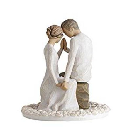 Willow Tree Around You Bride and Groom Wedding Cake Topper Figurine 27342 New - Brunette Bride Cake Topper