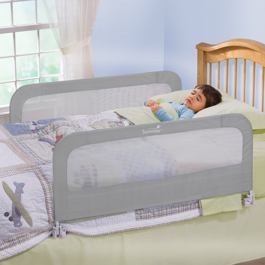 Summer Infant Toddler Bed Rail, Double Pack (Grey)