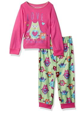 Komar Kids Girls' Owl Love 2pc Sleepwear Set, Iced Sage, Size: 4T